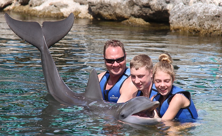 Family holding a dolphin in the water